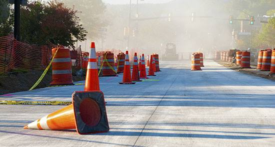 Road cones construction