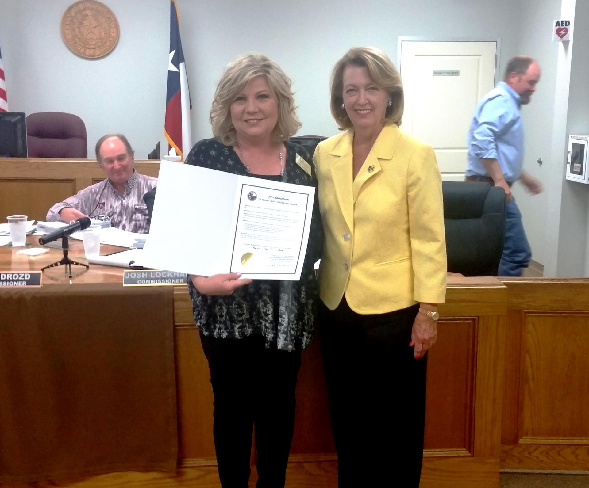 Older Americans Month Proclamation 2017- Lori Dunaway Ft Bend Seniors