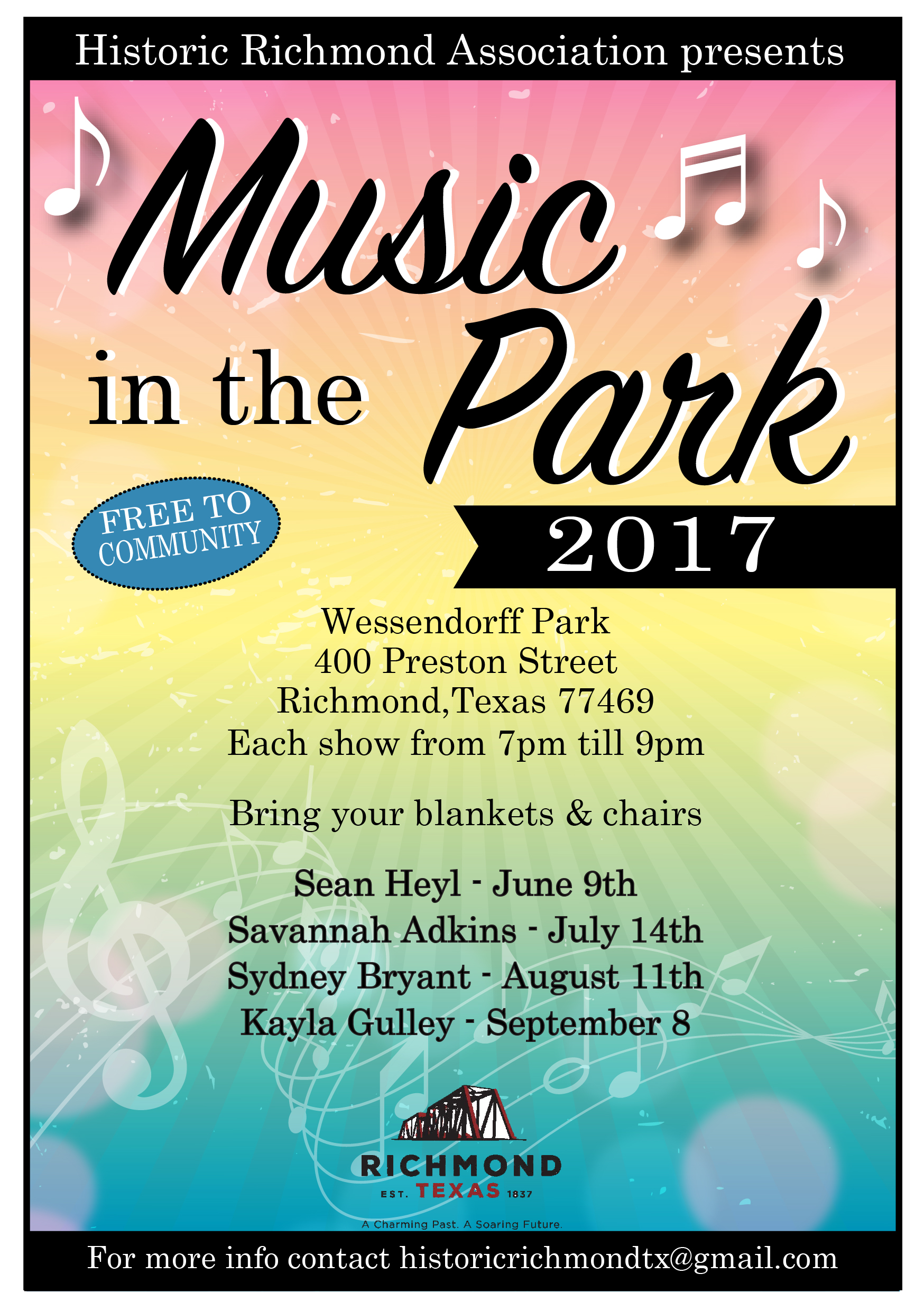 Music In The Park flyer for Series 2017