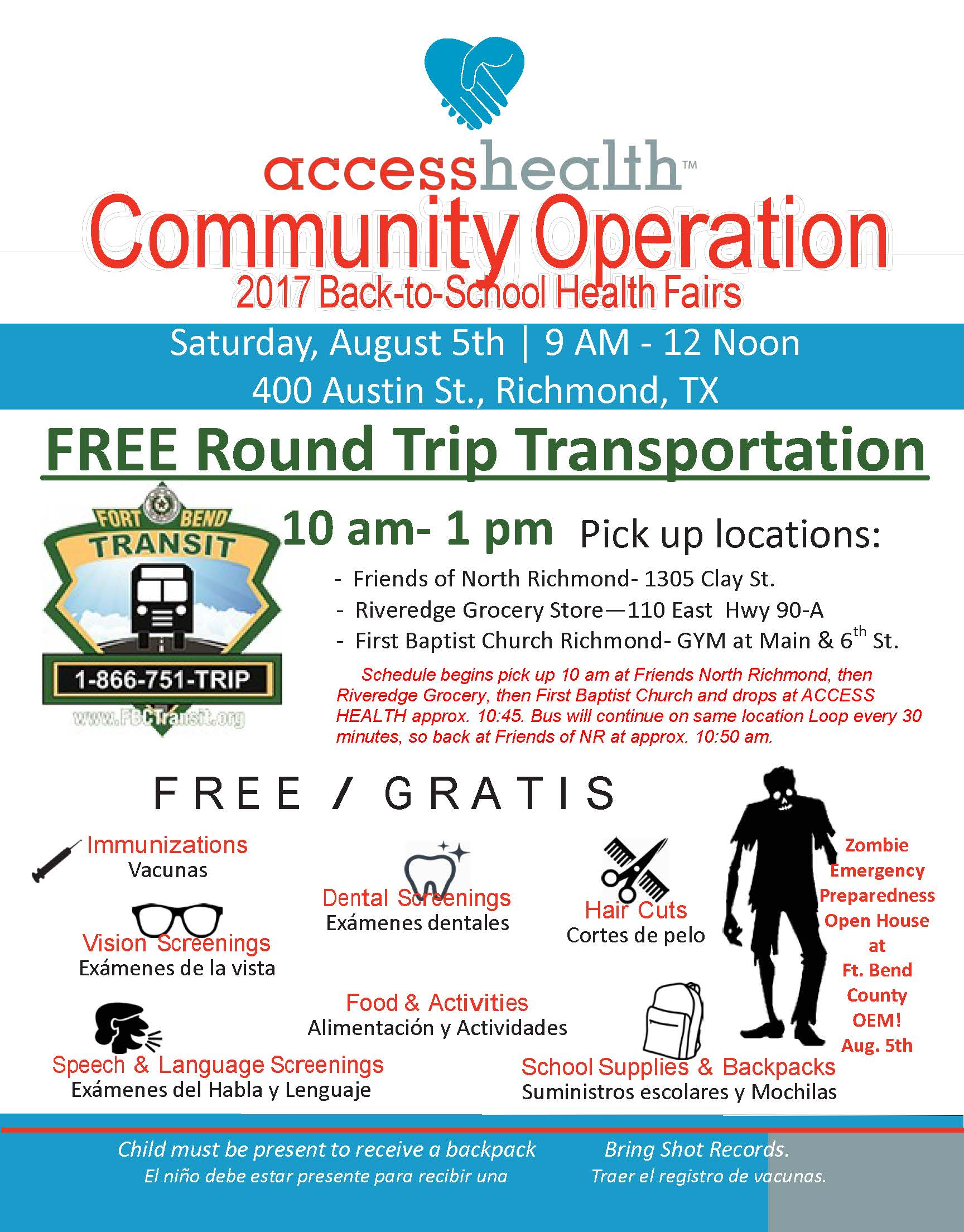 Ft Bend County Bus Services Assisting With Back to School Health