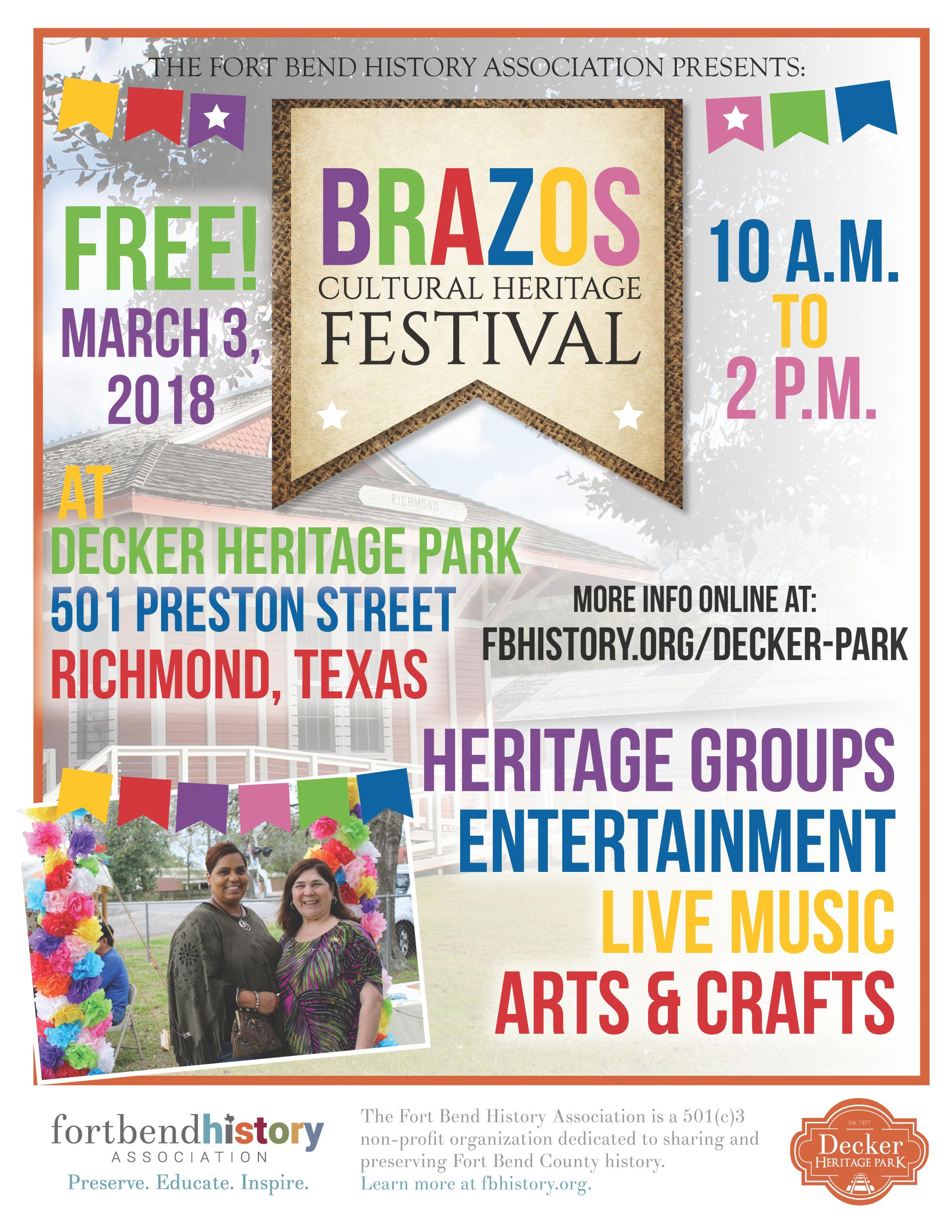 2018 Brazos Cultural Heritage Festival flyer