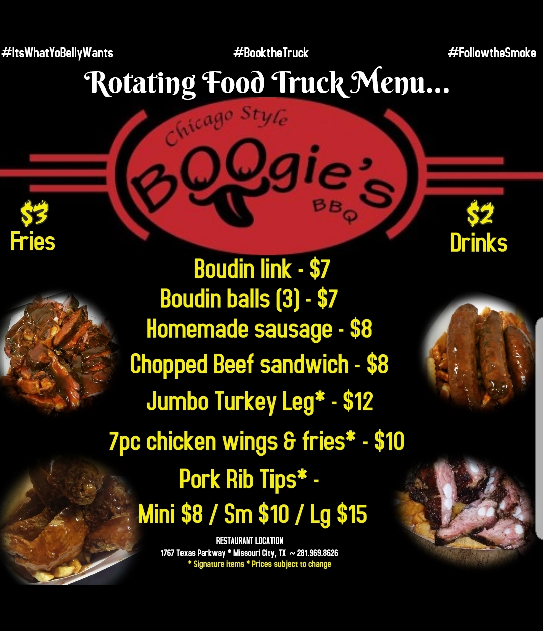 Boogie's BBQ Food Truck Menu