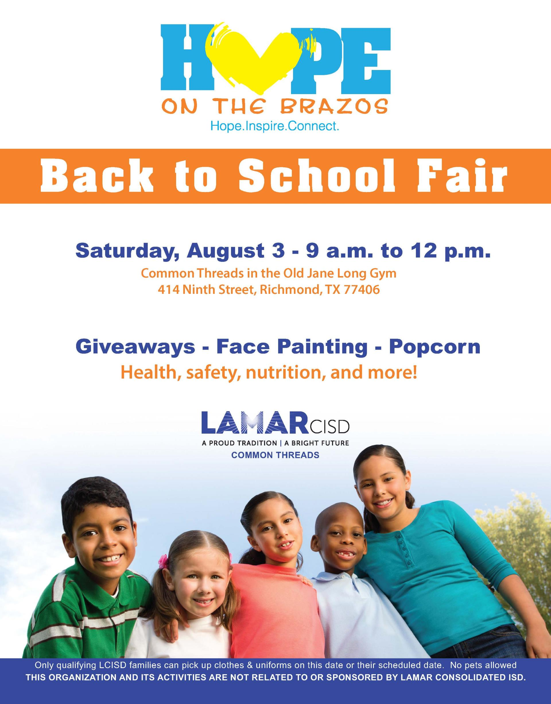 Hope On The Brazos 2019 Back to school fair flyer