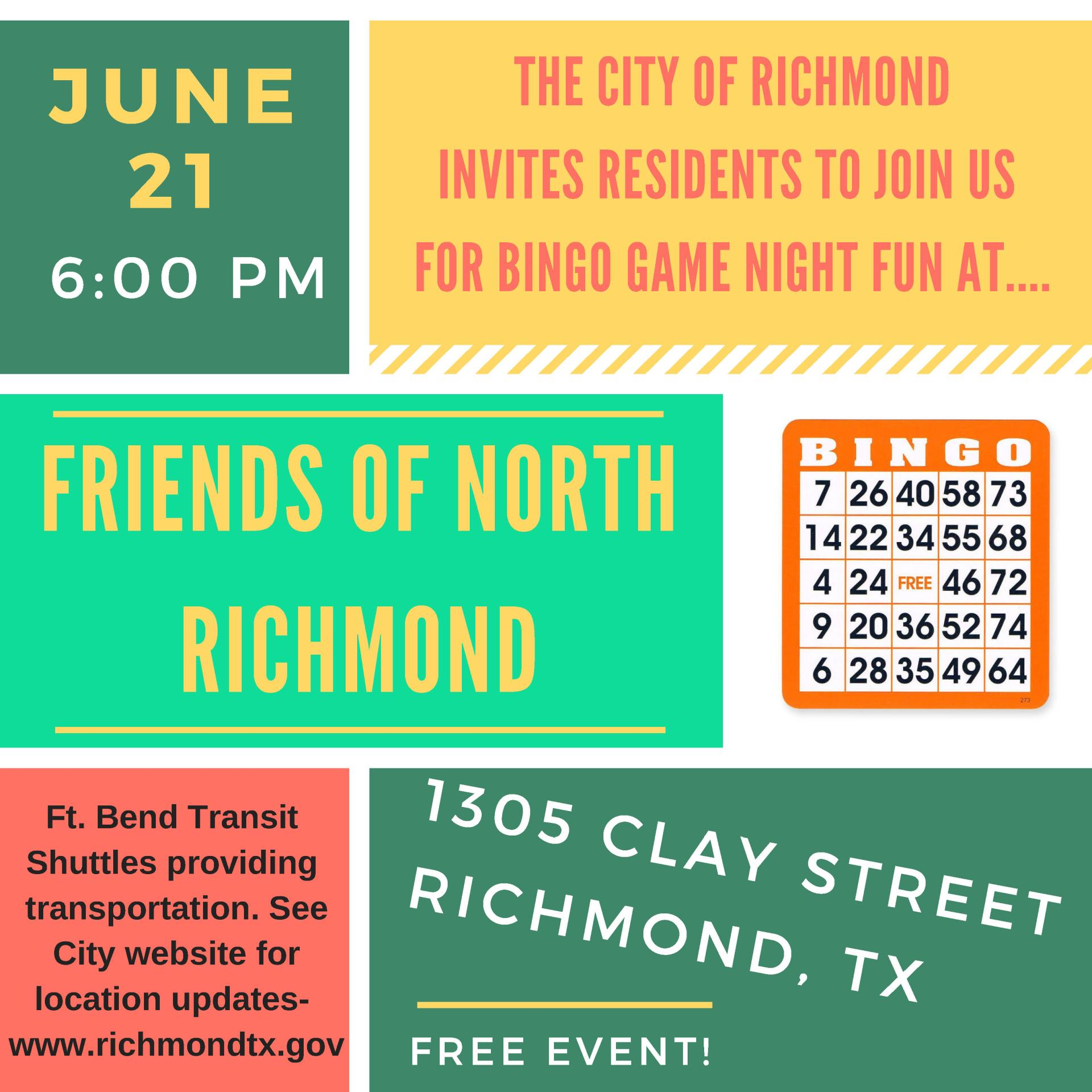 Bingo Game Night 2018 at Friends of North Richmond