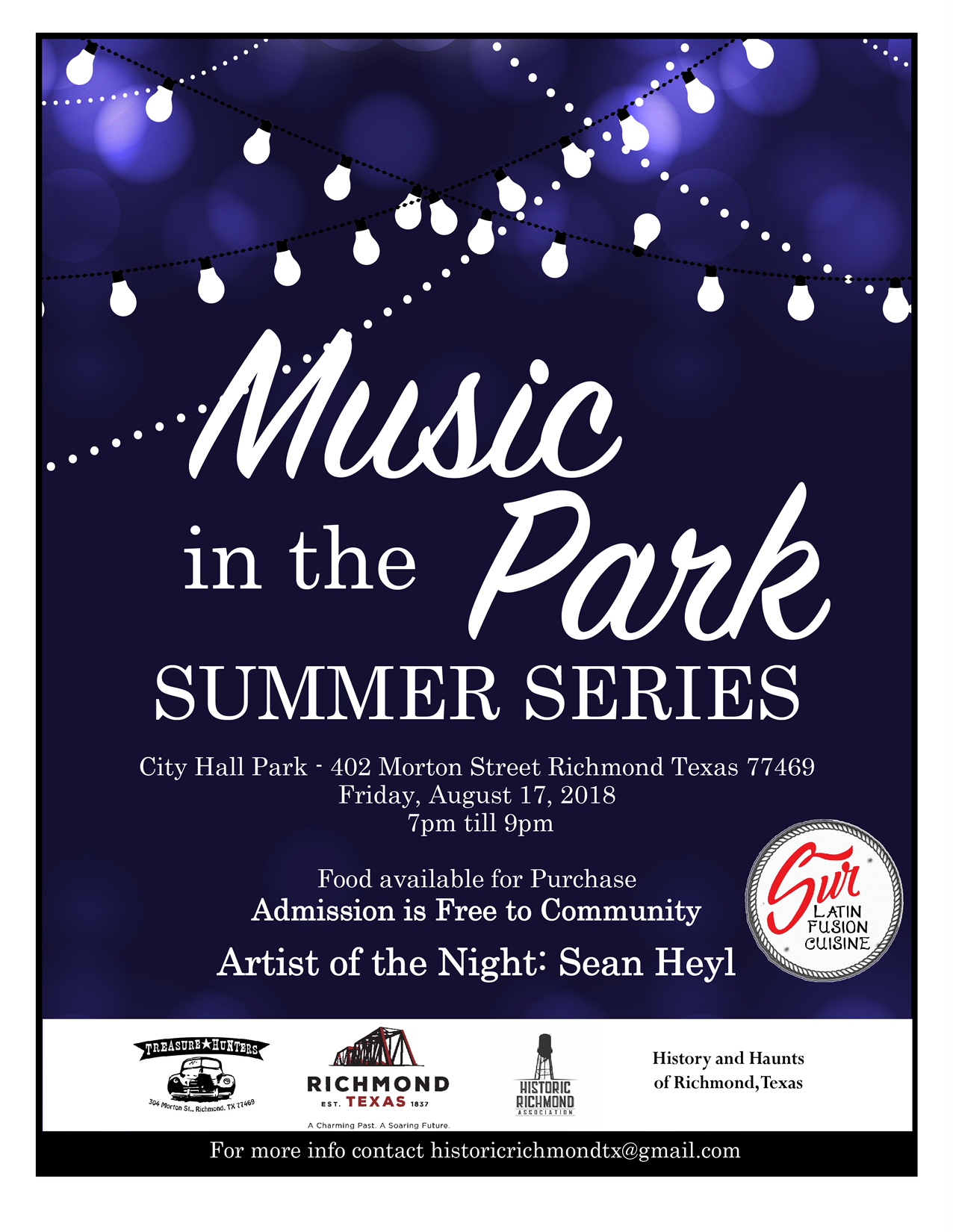 Music In Park flyer tAugust2018-Sean Heyl