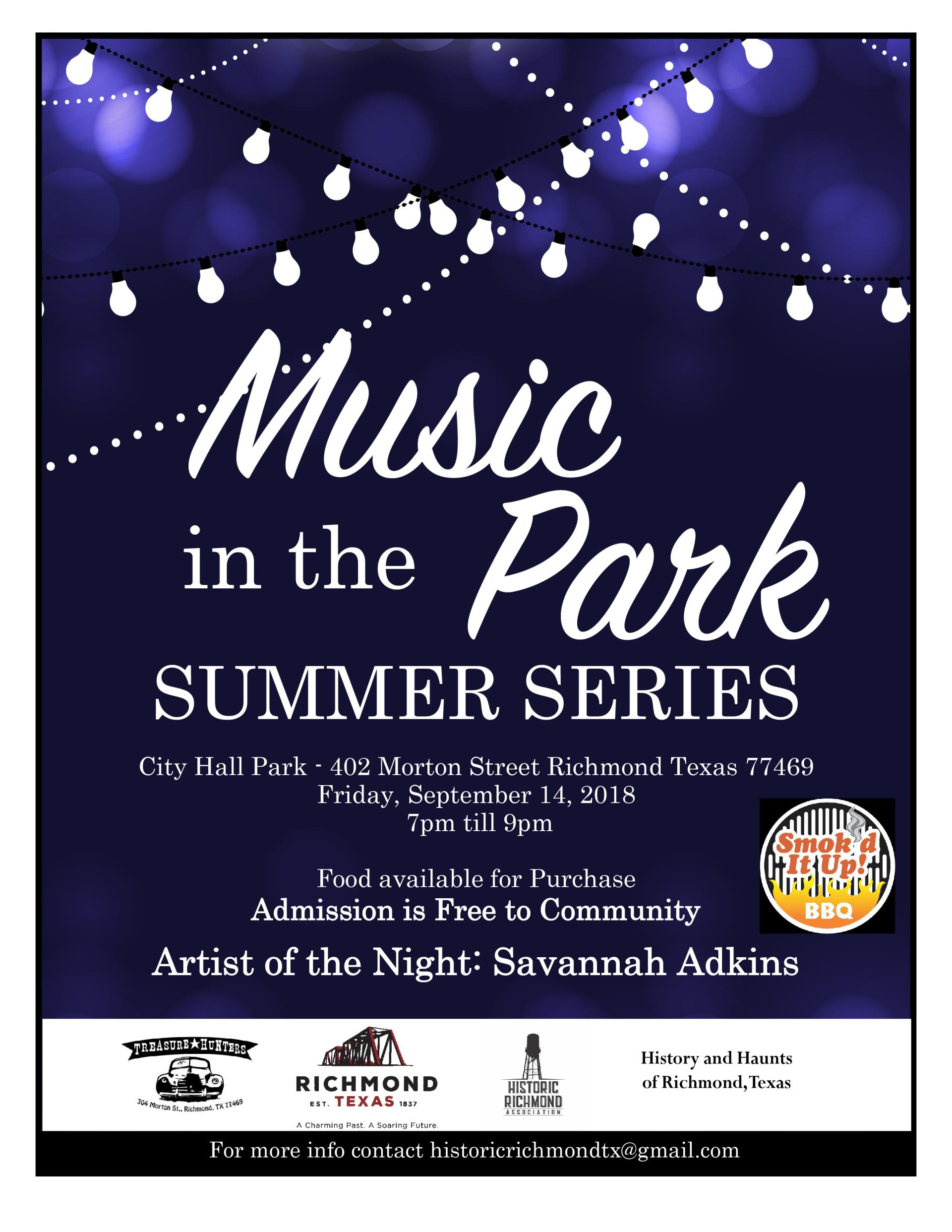 September 2018 Music In The Park Savannah Adkins flyer