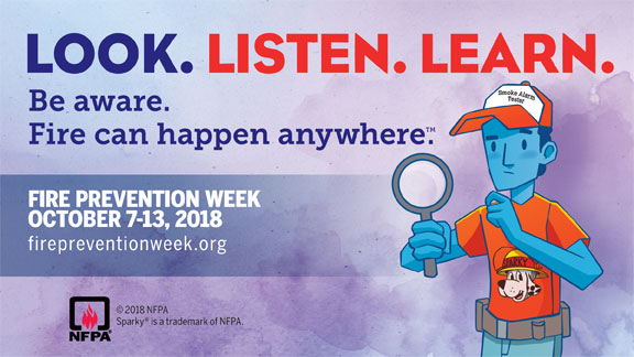 2018 Fire Prevention Week logo-Look Listen Learn