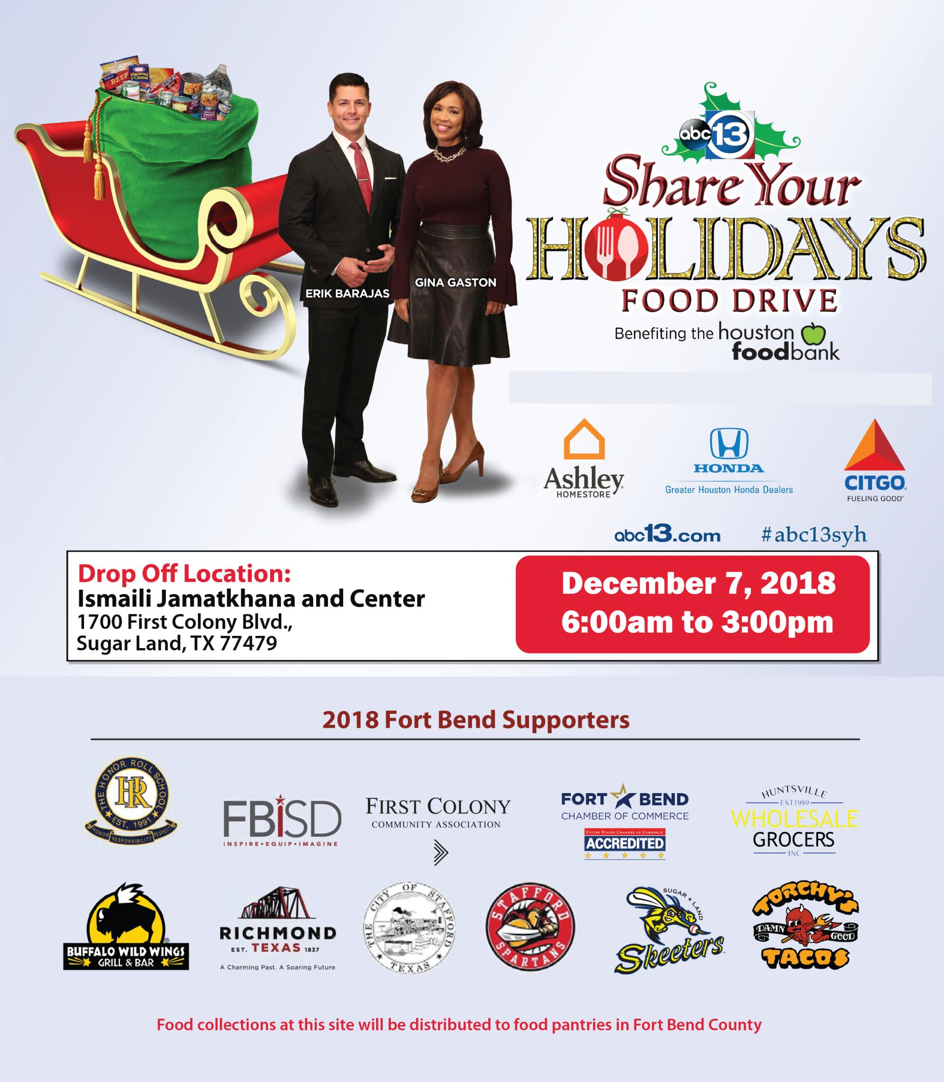 Share Your Holidays Food Drive Partners 2018