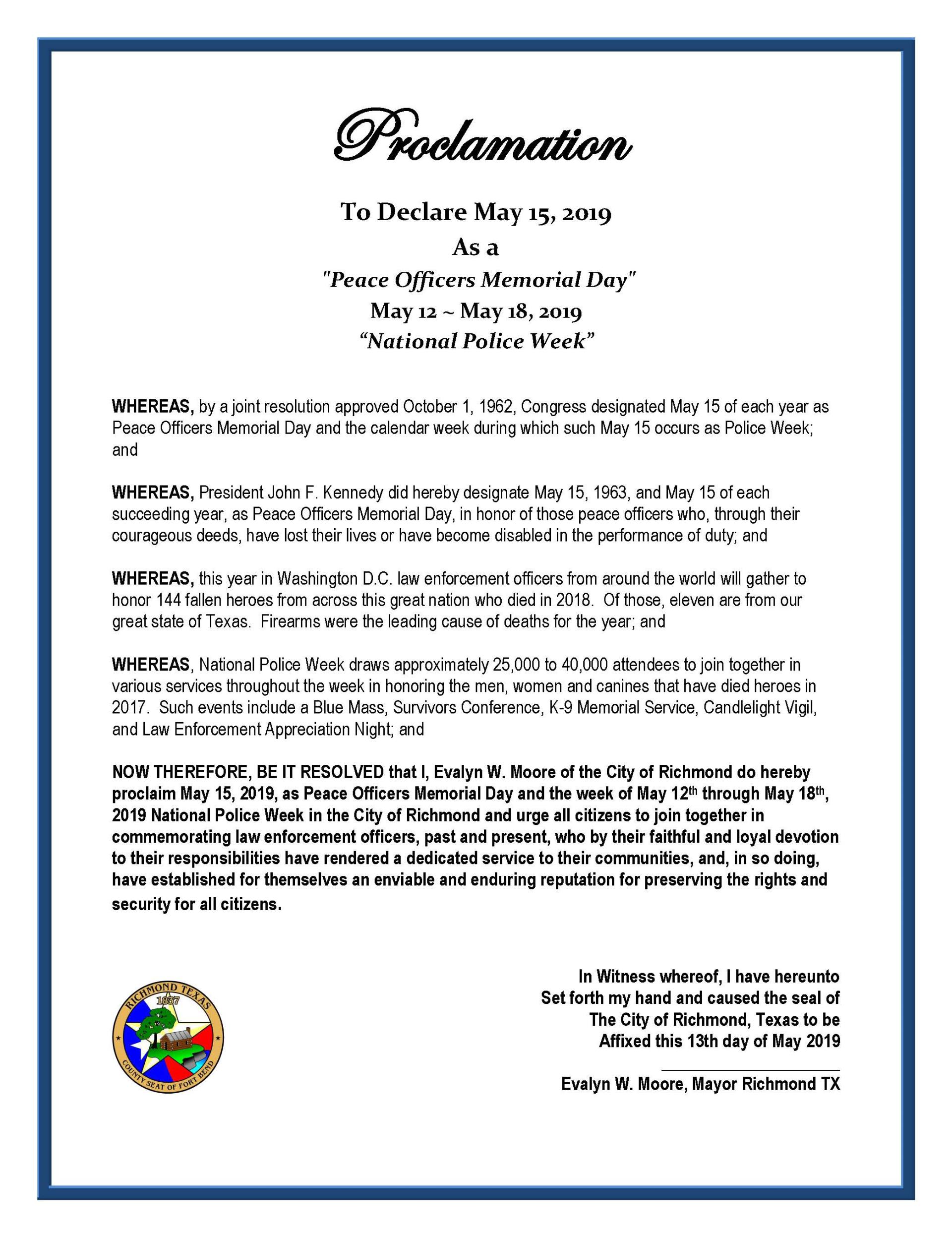 Proclamation Read Declaring May 15 2019 Peace Officer S Memorial