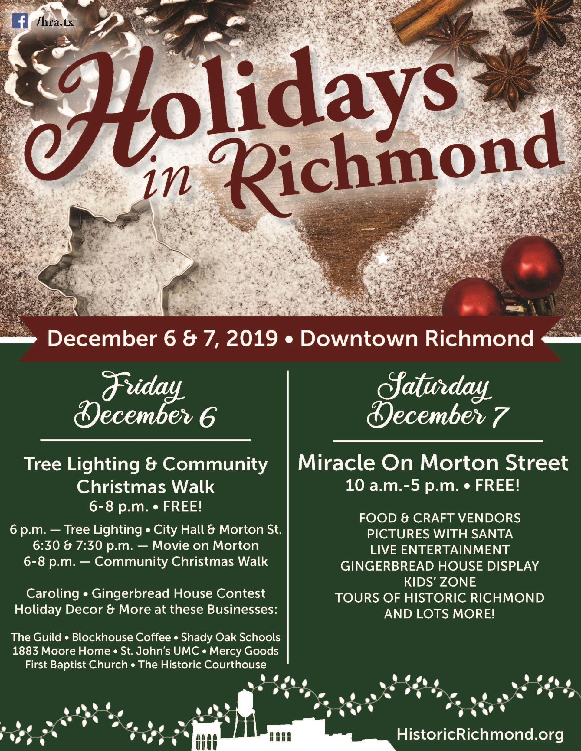 2019 MOMS Holidays in Richmond flyer for Dec. 6th & Dec. 7th
