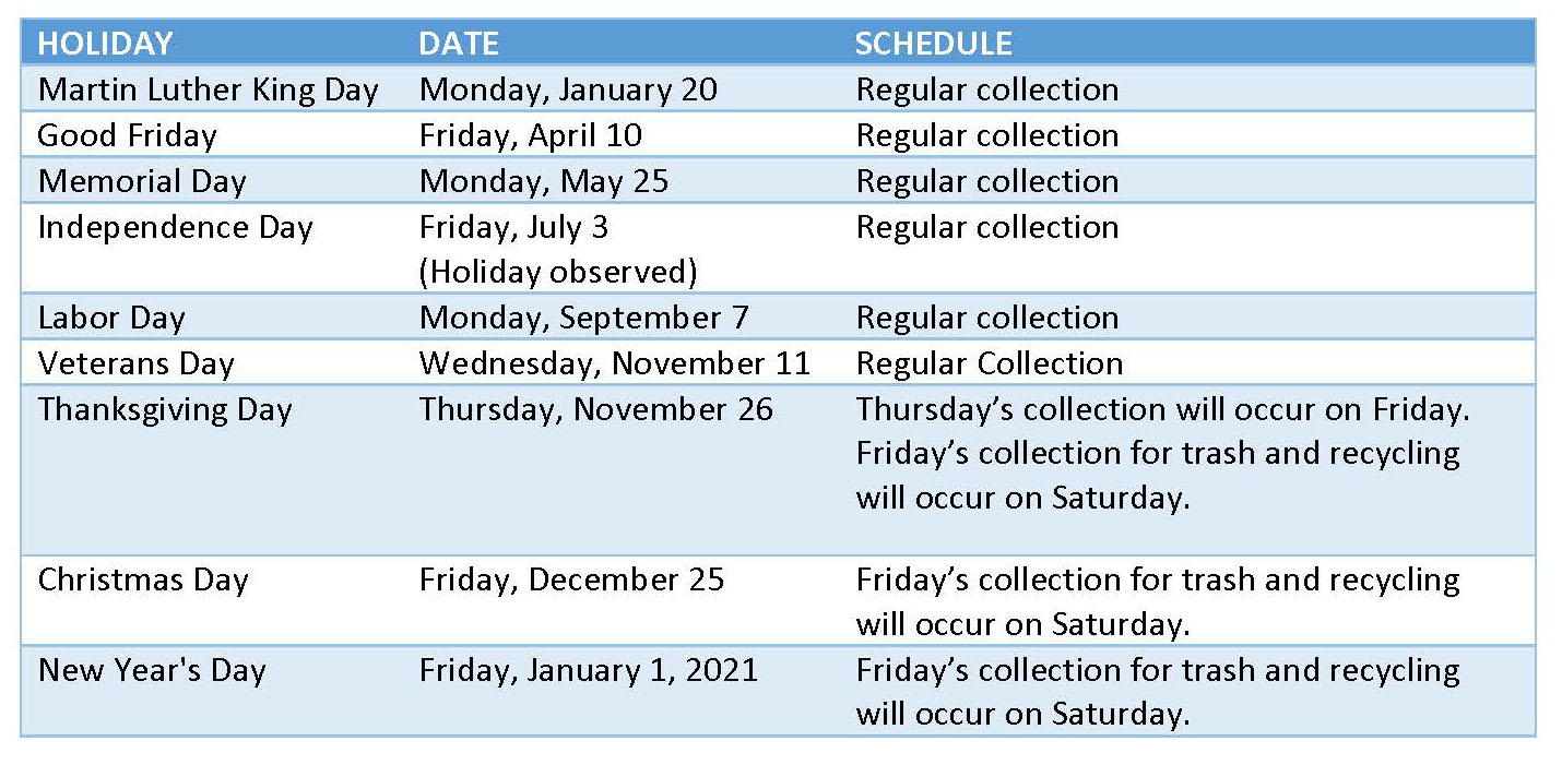 City of Richmond Holiday Schedule
